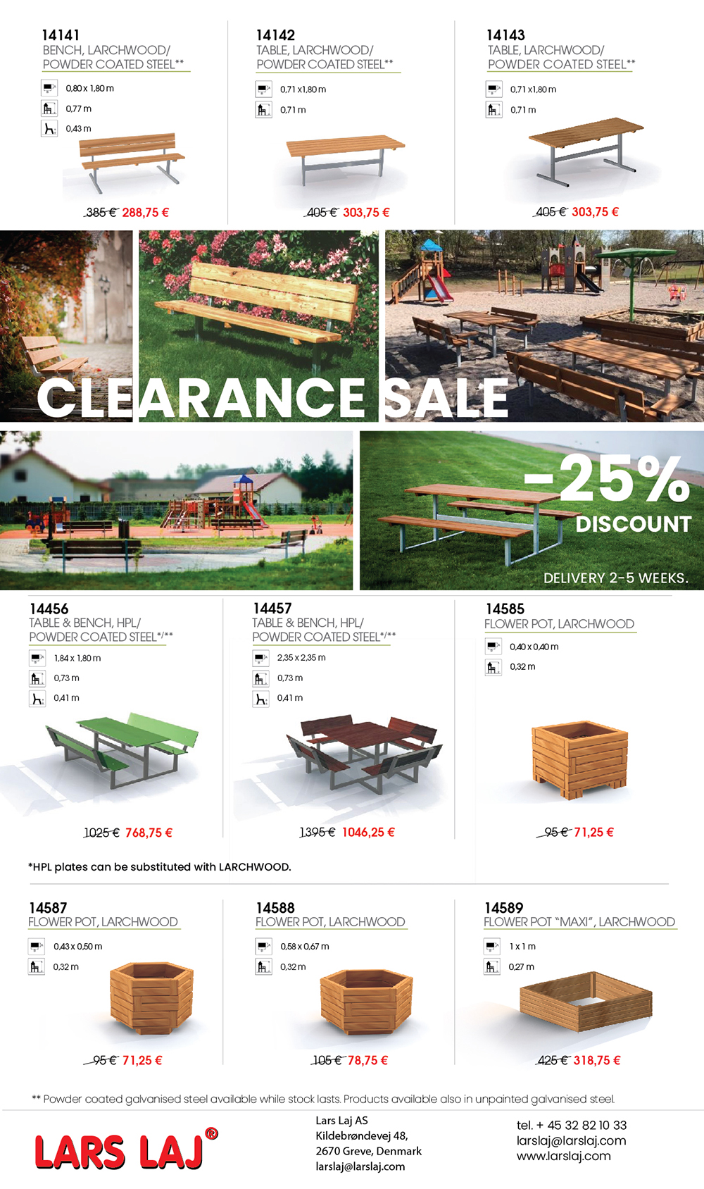 Special offer for larch and HPL benches and tables