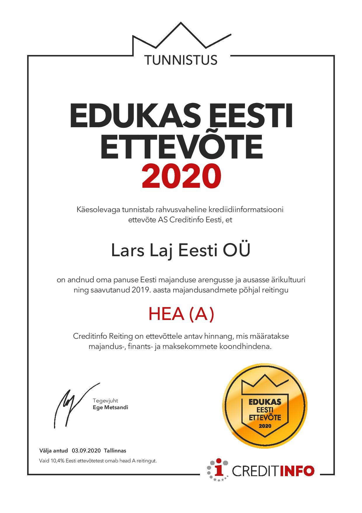Lars Laj Eesti Edukas Eesti Ettevõte 2020