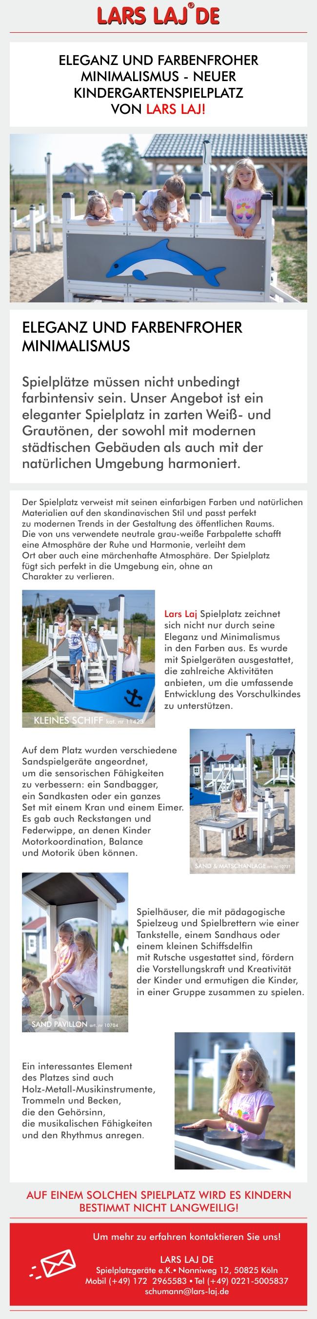 Eleganz und farbenfroher Minimalismus - neuer Kindergartenspielplatz von Lars Laj!