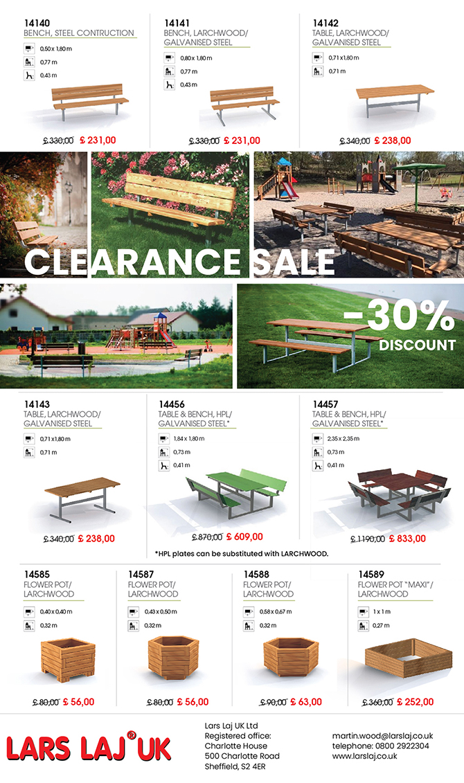 Lars Laj UK Special Offer 40% Discount on Benches and Tables